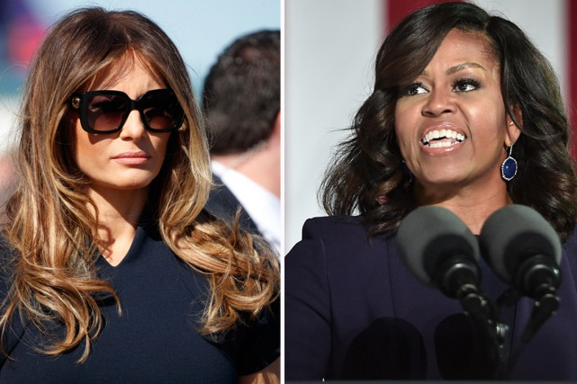 Melania Trump (à gauche) et Michelle Obama.... (photos ap/afp)