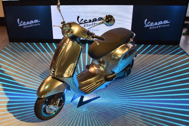 La Vespa Elettricaa été présentée au Salon de... (AFP)