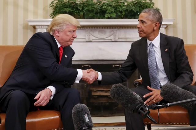 Donald Trump et Barack Obama, qui se sont... (AP, Pablo Martinez Monsivais)