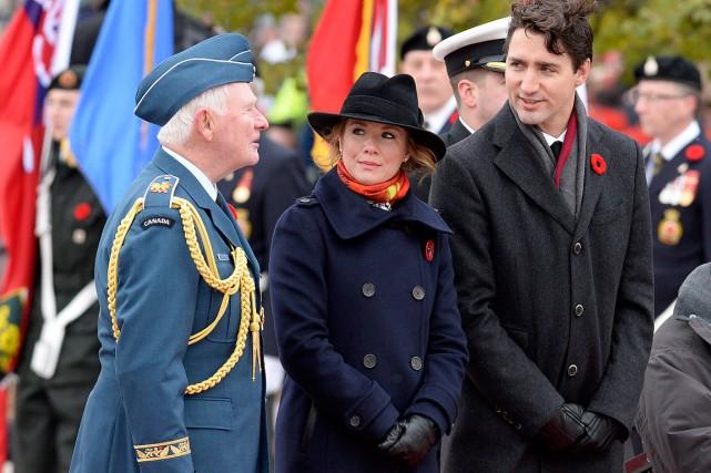 Legouverneur généralDavid Johnston, Sophie Grégoire Trudeau et le... (PHOTO Adrian Wyld, PC)