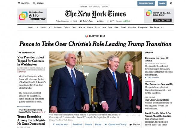 Sans faire référence à ces critiques, le patron... (Capture écran de la Une du nytimes.com)
