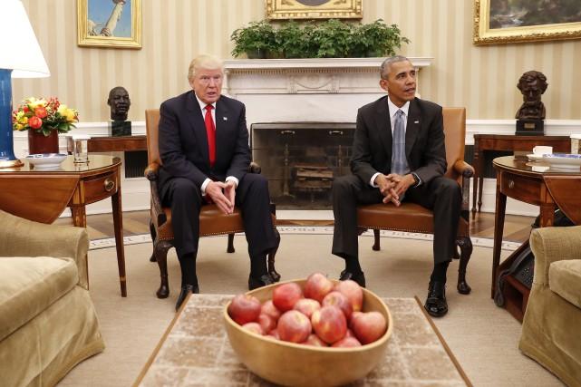 Obama laissera la Maison-Blanche à Trump en janvier.... (AP)