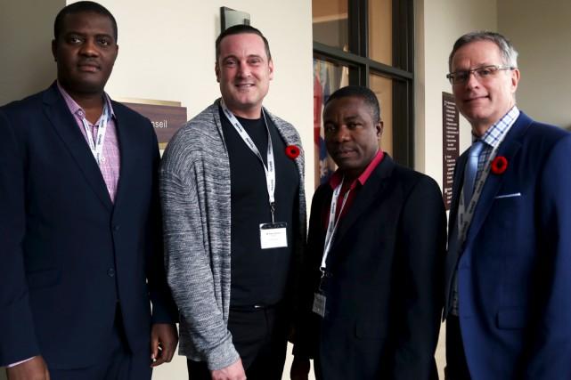 Deux délégués haïtiens, Jude Édouard Pierre et Francis... (Christophe Boisseau-Dion)