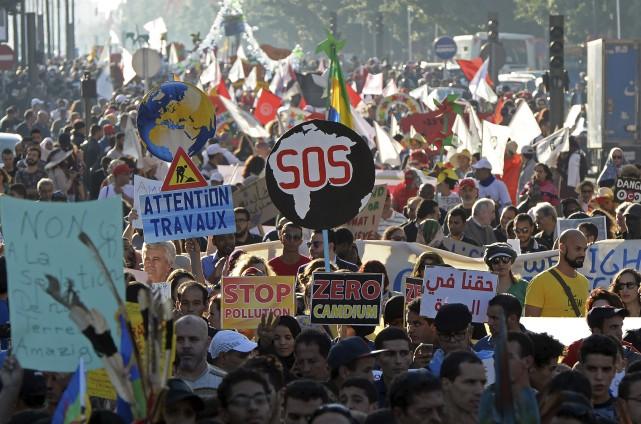 Manifestation tenue dimanche à Marrakech, où a lieu... (AFP, Fadel Senna)