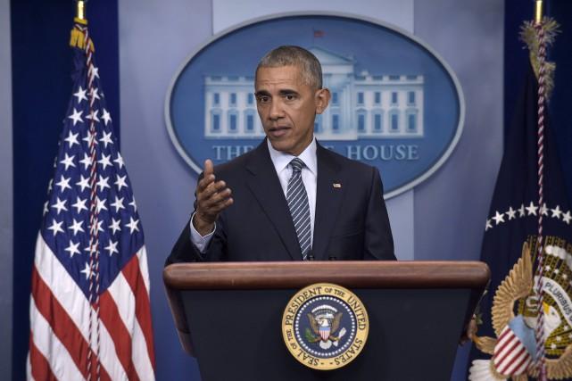 Barack Obama a prononcé lundi sa première conférence... (AP)
