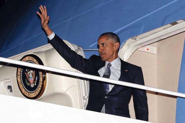 Le président américain Barack Obama est monté à... (AP, Pablo Martinez Monsivais)