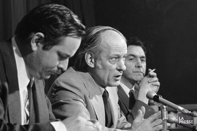 Jacques Parizeau, René Lévesque et Camille Laurin lors... (Archives La Presse)
