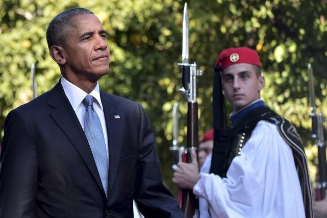 Pour son dernier voyage en Europe, le président... (AFP, Louisa Gouliamaki)