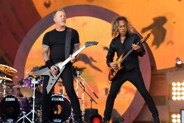 James Hetfield et Kirk Hammett de Metallica.... (PHOTO ARCHIVES AFP)