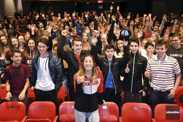 Valérie Maltais a prononcé une conférence aux étudiants... (Photo Le Quotidien, Rocket Lavoie)