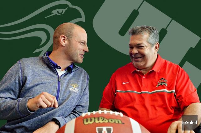 Michael Faulds, entraîneur-chef des Golden Hawks, et Glen... (Infographie Le Soleil)