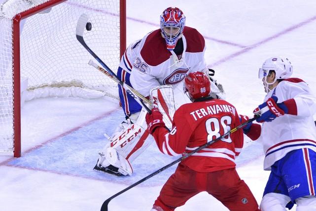 Teuvo Teravainen a marqué le deuxième but des... (AFP)