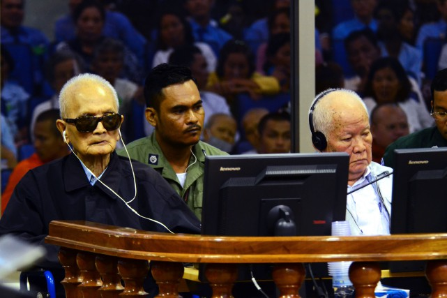 Nuon Chea et Khieu Samphan... (Photo archives Agence France-Presse)