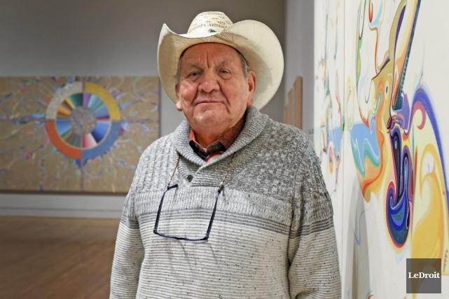 Le peintre autochtone de 81 ans, Alex Janvier,... (Patrick Woodbury, Le Droit)