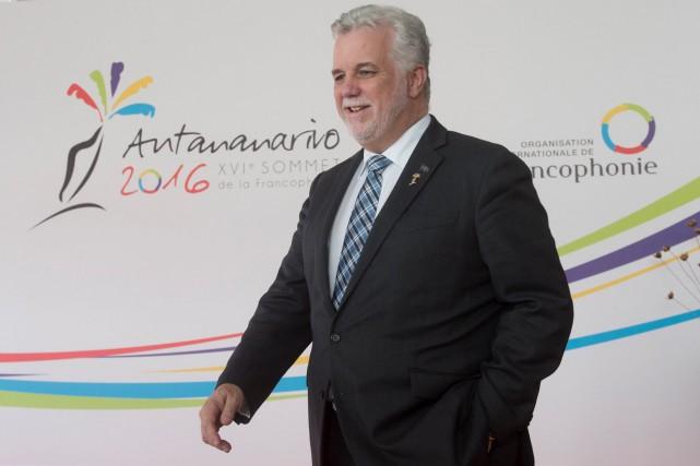 Philippe Couillard a profité de la présence du... (La Presse canadienne, Adrian Wyld)