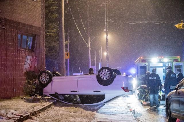 La collision s'est produite vers 1h30 dans la... (Collaboration spéciale Steve Jolicoeur)