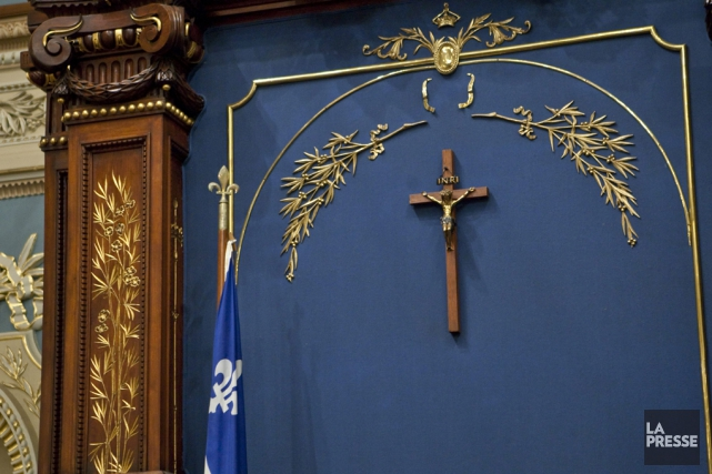 Le crucifix du Salon bleu, à l'Assemblée nationale... (Archives La Presse)