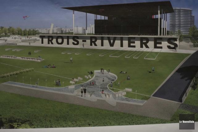 Les jeux d'eau prévus sur l'esplanade de l'Amphithéâtre... (Sylvain Mayer, Le Nouvelliste)