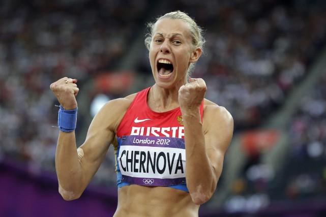 L'heptathlète russe Tatyana Chernovaavait remporté la médaille de... (Photo David J. Phillip, archives AP)