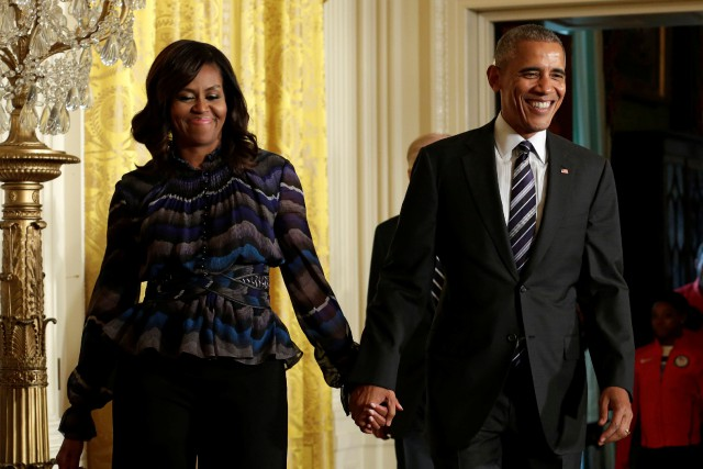 Michelle Obama et Barack Obama... (Photo Yuri Gripas, archives Reuters)