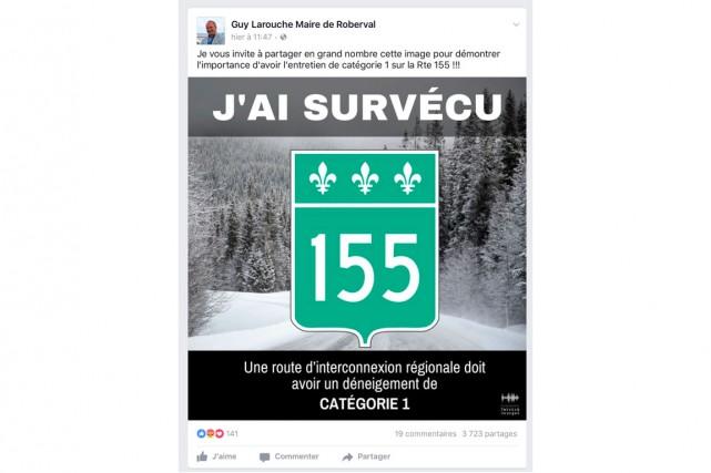 La publication du maire de Roberval, Guy Larouche,... (Facebook)