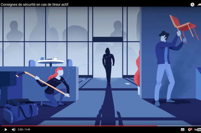 La vidéo explique comment agir lorsqu'un tireur actif... (CAPTURE D'ÉCRAN TIRÉE DE LA VIDÉO)