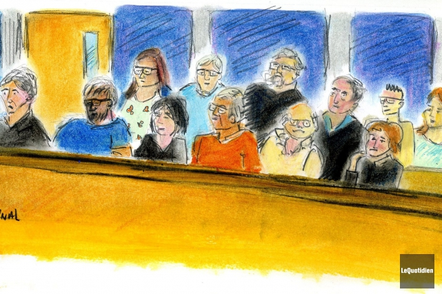 Les membres du jury au procès d'Yves Martin... (Photo archives Le Quotidien, illustration de Christiane Cardinal)