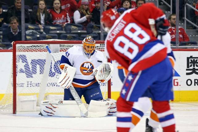 Jaroslav Halaka bloqué 38 rondelles pour signer son... (Photo Geoff Burke, USA TODAY Sports)