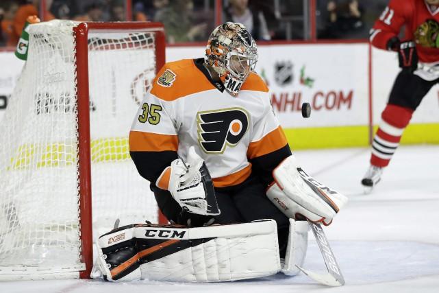 Le gardien Steve Mason, des Flyers de Philadelphie,... (Photo Matt Slocum, AP)