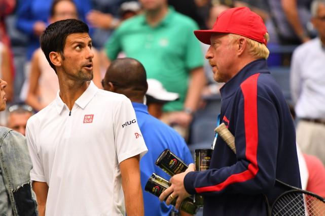 Novak Djokovic et son entraîneur Boris Becker... (Photo Robert Deutsch, archives USA Today Sports)