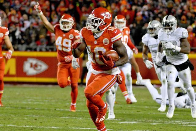 Tyreek Hill (10), des Chiefs de Kansas City,... (Photo Denny Medley, USA Today Sports)