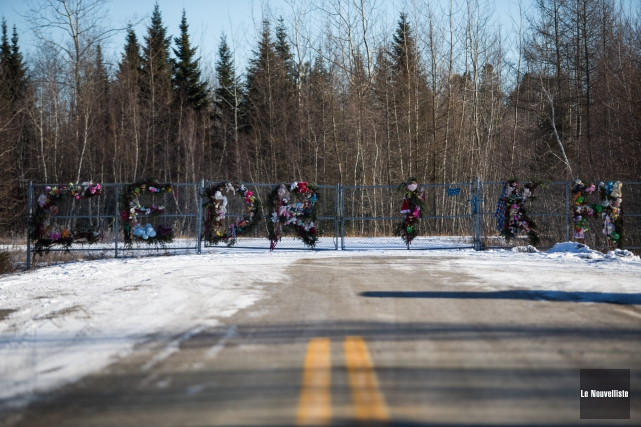 La barrière qui délimite l'entrée du boisé où... (Olivier Croteau, Le Nouvelliste)