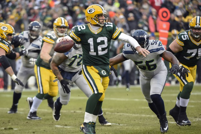 Le quart des Packers de Green Bay AaronRodgers... (Photo Benny Sieu, USA Today Sports)