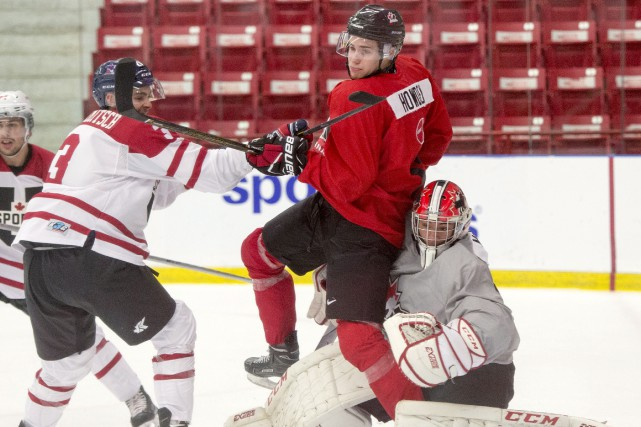 L'attaquant Brett Howden (en rouge) n'a pu éviter... (La Presse canadienne, Ryan Remiorz)