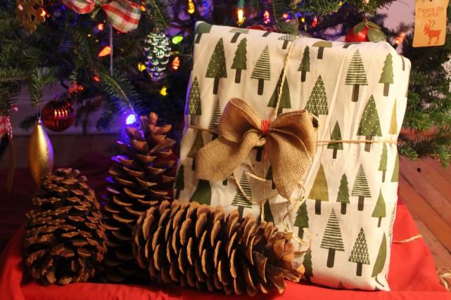 Cadeau emballé dans un tissu de Noël.... (Mélissa Bradette)