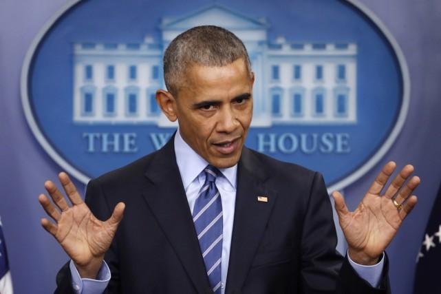 Le président américain Barack Obama répond aux questions... (photo Pablo Martinez Monsivais, Associated Press)