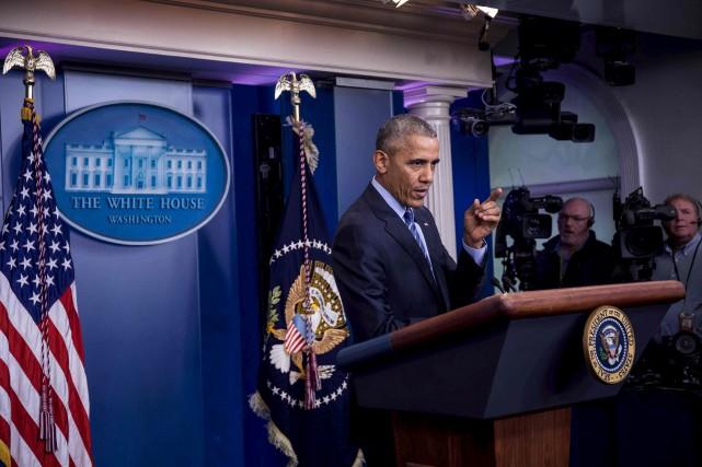 Le président Barack Obama effectuait vendredi sa dernière... (AFP, ZACH GIBSON)