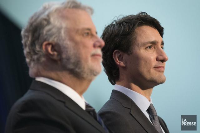 Les premiers ministresJustin TrudeauetPhilippe Couillardont conclu une entente... (Archives La Presse)