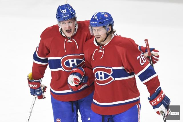 Jeff Petry (à droite)a inscrit trois buts à... (Photo Bernard Brault, La Presse)