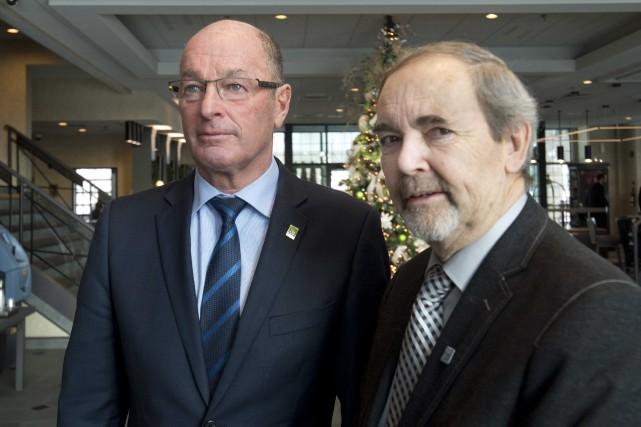 Les maires de Trois-Rivières et Bécancour, Yves Lévesque... (Sylvain Mayer, Le Nouvelliste)