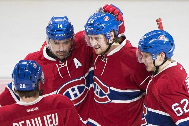 Jeff Petry (26) célèbre avec ses coéquipiers Tomas... (La Presse canadienne)
