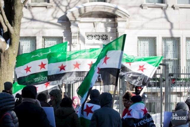 Une manifestation pro-Alep a eu lieu à Montréal.... (Archives, La Presse)