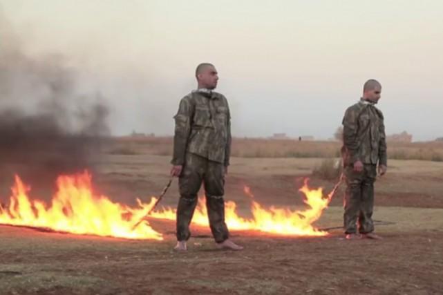 Le groupe djihadiste État islamique (EI) en Syrie a diffusé jeudi une vidéo qui... (Image tirée d'une vidéo)