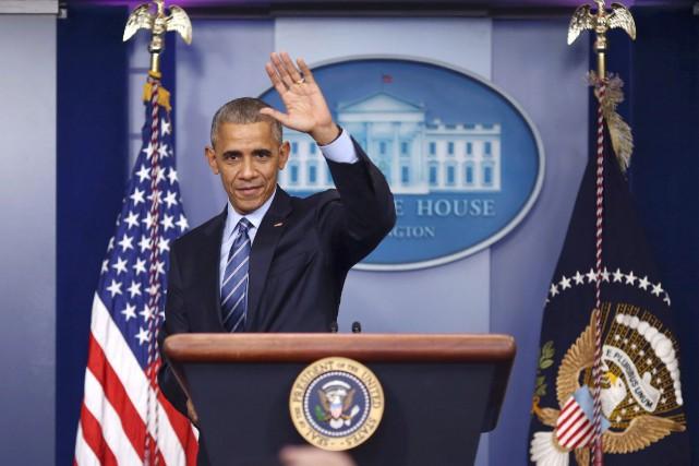 Barack Obama a utilisé ce dernier message pour... (Photo Reuters)