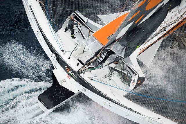 Thomas Coville à bord dumaxi-trimaranSodebo Ultim'.... (PHOTO JEAN-SEBASTIEN EVRARD, ARCHIVES AFP)