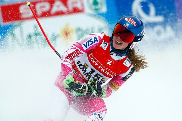 L'Américaine Mikaela Shiffrin a remporté mardi le slalom... (Giovanni Auletta, AP)