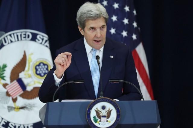 John Kerry s'exprimait mercredi à Washington.... (Andrew Harnik, AP)