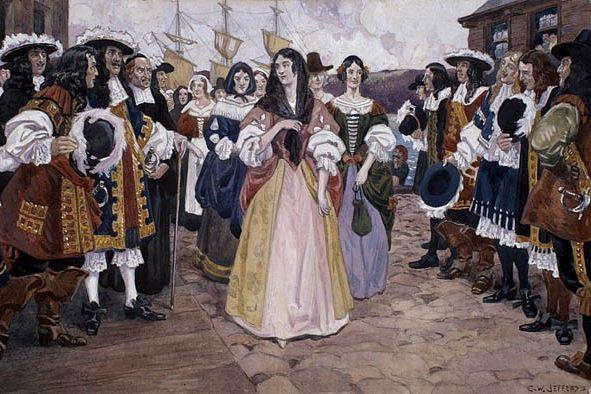L'arrivée des jeunes filles françaises à Québec, oeuvre... (Bibliothèque et Archives Canada - Domaine PUBLIC)