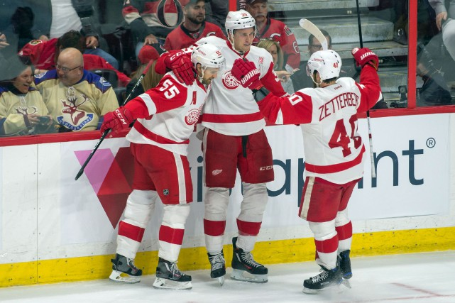 Anthony Mantha a trouvé le fond du filet... (Photo Marc DesRosiers, USA TODAY Sports)