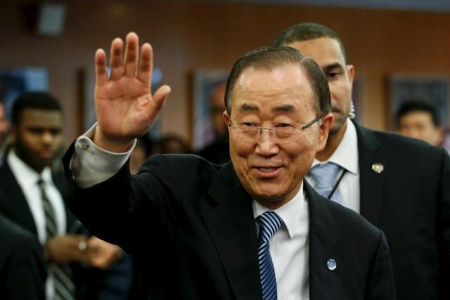 Ban Ki-moon a fait ses adieux au personnel... (AFP, KENA BETANCUR)